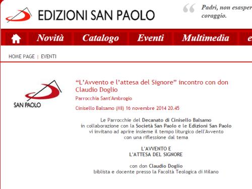 """""""L'Avvento e l'attesa del Signore"""" incontro con don Claudio Doglio - Edizioni San Paolo"""